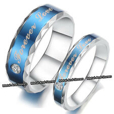UNIQUE BLUE LOVE RINGS HEART ROMANTIC XMAS GIFT FOR HER HIM WIFE HUSBAND COUPLES