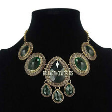WATER DROP OVAL DANGLE PENDANT BIB NECKLACE VINTAGE RETRO JEWELRY GOLDEN CHAIN