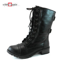 Women Military Combat Mid Calf Riding Lace Up Zipper Boots Soda Shoes Dome Black