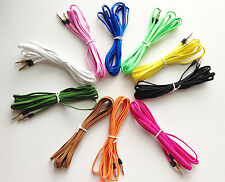 10FT AUXILIARY FLAT BRAIDED NOODLE cable 3.5mm FOR apple iphone 6 5 ipod car mp3