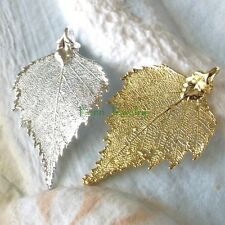 Genuine Birch Leaf Pendant or Necklace in Yellow Gold Dip or Sterling Silver Dip