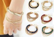 YO US Womens Elegant Gold Color Braided Rope Multilayer Bracelet Handmade Chain
