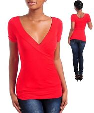 Womens Blouse top V neck crossover Tee Vanity Red Sexy S M L XL tagged form fit
