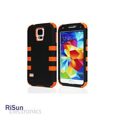 For Samsung S5 Heavy Duty Orange Hybrid Rugged Hard Casescreen protector