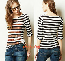 NEW S XS SP Anthropologie Ballast Tee, Sequined stripe embellishments, Cotton