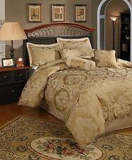 BEAUTIFUL SOPHISTICATED & ELEGANT 7 PC GOLD COMFORTER SET KING QUEEN CAL KING
