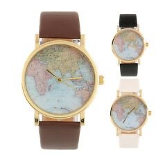 New Retro Vintage World Map Wrist Watch Wristband Leather Alloy Women Male