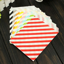 50pcs Stripe Wedding Cake Candy Popcorn Biscuit Gift Party Bag Food Oil Paper