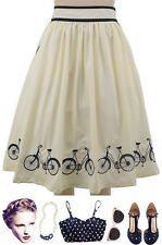 50s Style IVORY & Navy High Waist FULL Skirt w/ Embroidered BICYCLE Hem Details