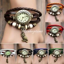 Women Retro Vintage Owl Pendant Weave Wrap Quartz Leather Wrist Watch atst