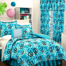 Teen Girls Turquoise TIE DYE PEACE SIGNS Comforter & Sheet Set+2 VALANCES+PILLOW