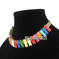 GOLDEN CHAIN COLORFUL RECTANGULAR STRIPES RESIN PENDANT BIB CHOKER NECKLACE GIFT
