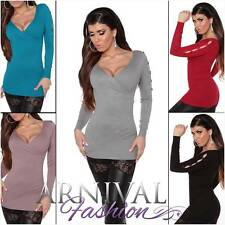 NEW SEXY WRAP JUMPER size 6 8 10 12 KNITTED SWEATERS for WOMEN KNITWEAR XS S M L