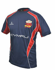 Welsh Rugby Supporters T-Shirt  S - XXXXL Olorun Wales Rugby Navy T-Shirt