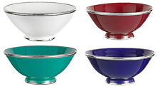 Moroccan Glazed Terracotta & Silver Metal Trim Bowl in Assorted Colors SAFI