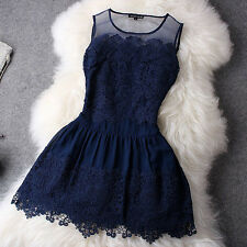 STYLE Novelty Lace Patchwork Dress Sleeveless Tank Women's Fashion Sexy Dresses