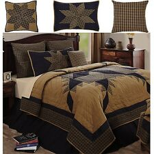 Navy Star Primitive Country Patchwork Quilt Shams Bed Skirt Pillows Set~4 Sizes