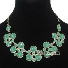 GOLDEN CHAIN FACETED SURFACE RESIN BEADS PENDANT BIB BUBBLE STATEMENT NECKLACE