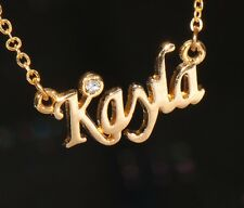 KAYLA Name Necklace with Rhinestone Gold or Silver Tone