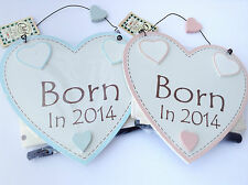 New Baby Wall Plaque - 'Born in 2014' can be personalised. Inc giftwrap and pen