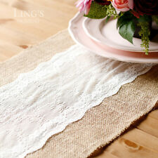 "12""x108"" Table Runner Jute Burlap w/Centre White Lace Trim Wedding Party Decor"