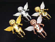 """Real Diamond Angel Pendant Charm In Yellow White Or Rose Gold Finish .75 Ct 1.5"""""""