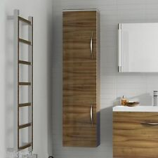 Hudson Reed Memoir Gloss Walnut Wall Hung Tall Bathroom Side Cabinet - FME016