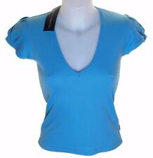 Bnwt Women's French Connection V Neck Cotton T Shirt Blue New Short Sleeve Fcuk