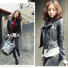 New Fashion Womens Slim Biker Motorcycle Synthetic Leather Zipper Jacket Coat