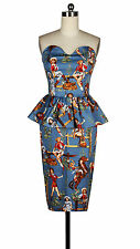 Vintage 50s Style Rockabilly Blue Cowgirl Tube Peplum Wiggle Pencil Dress
