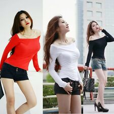 Sexy Women's Off-Shoulder Top Blouse Long sleeve Shirt Clubwear Tee Mini Dress