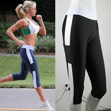 Women Lady Tights Capri Running Yoga Sport Pants High Waist Cropped Fitness