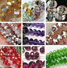 Faceted Rondelle Crystal Glass Beads CHOOSE COLOUR & SIZE 70 x 8mm & 100 x 6mm