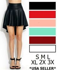 High Waist Hi-Low Flared Faux Leather Skater A-Line Skirt Sizes S M L XL