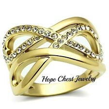 WOMEN'S GOLD TONE DOUBLE INFINITY CRYSTAL WIDE BAND FASHION RING SIZE 5 - 10