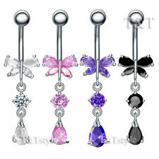 TT CZ Butterfly TearDrop Dangle Belly Bar Ring Body Piecing BL112