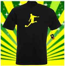 MENS & BOYS BLACK T SHIRT COTTON FOOTBALL SPORTS FRONT PRINT PLAIN CASUAL DIRECT