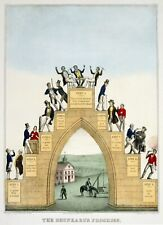4628.Drunkard's progress.bridge with dancing men.POSTER.decor Home Office art