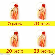 2-25pack 5/0 Fishing Rock Fish Shrimp Fly Rigs Yellow/Red Krystal Bass Cod Lures