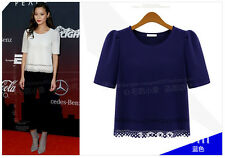 2014 new fashion round neck short sleeve lace wild woman Chiffon shirt 8428