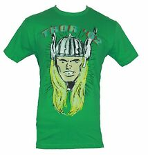 Thor (Marvel Comics) Mens T-Shirt - Thor '62 Classic Kirby Head Image  Green