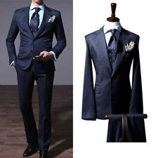 NAVY checked plaid 2BT suit slim men s casual business prom groom suits US UK