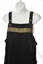 NWT Coldwater Creek Black Velvet Gold Trim Overalls