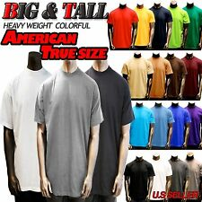 Big and Tall Mens Heavy Weight Plain S/S T-shirts Crew Neck Solid JOHNSON 8OZ