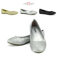 Round Toe Ballet Flat Comfort Slip-On Wedding Soda Casual Scout Silver Glitter
