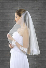 "1 Tier White/Ivory Wedding Bridal Elbow Veil With Comb 28"" Lace Details (VK-26)"