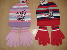 NEW GIRLS MINNIE MOUSE HAT AND GLOVES SET DISNEY PINK RED AGES 2-4 4-8 YEARS