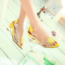 Lady Womens High Heels Pump Shoes 6 Colors Clear Transparent Wedge Heel Sandals