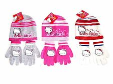BLACK FRIDAY GIRLS HELLO KITTY HAT AND GLOVES SET PINK CREAM RED 2-4 6-8 YEARS