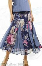 Orientique Women's Ladies Long Skirt Size 12 Contrast Panel Floral Crinkled Look